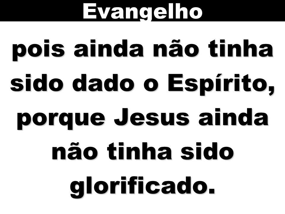 pois ainda não tinha sido dado o Espírito, porque Jesus ainda não tinha sido glorificado. Evangelho