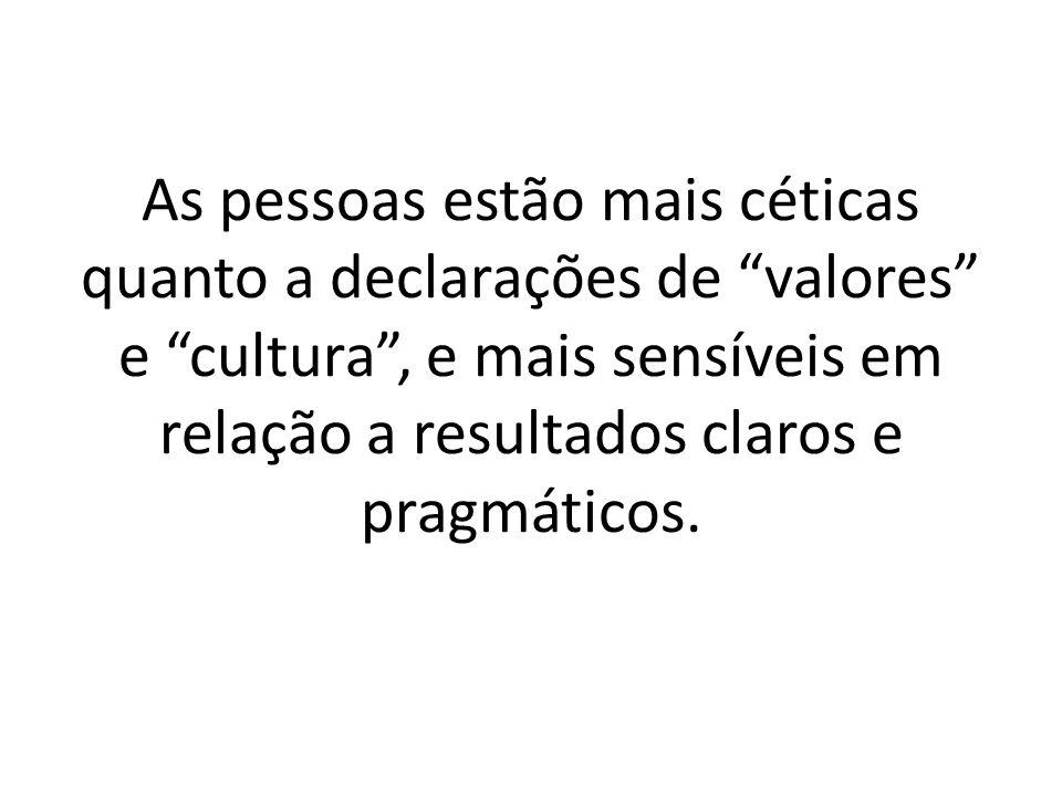 """As pessoas estão mais céticas quanto a declarações de """"valores"""" e """"cultura"""", e mais sensíveis em relação a resultados claros e pragmáticos."""