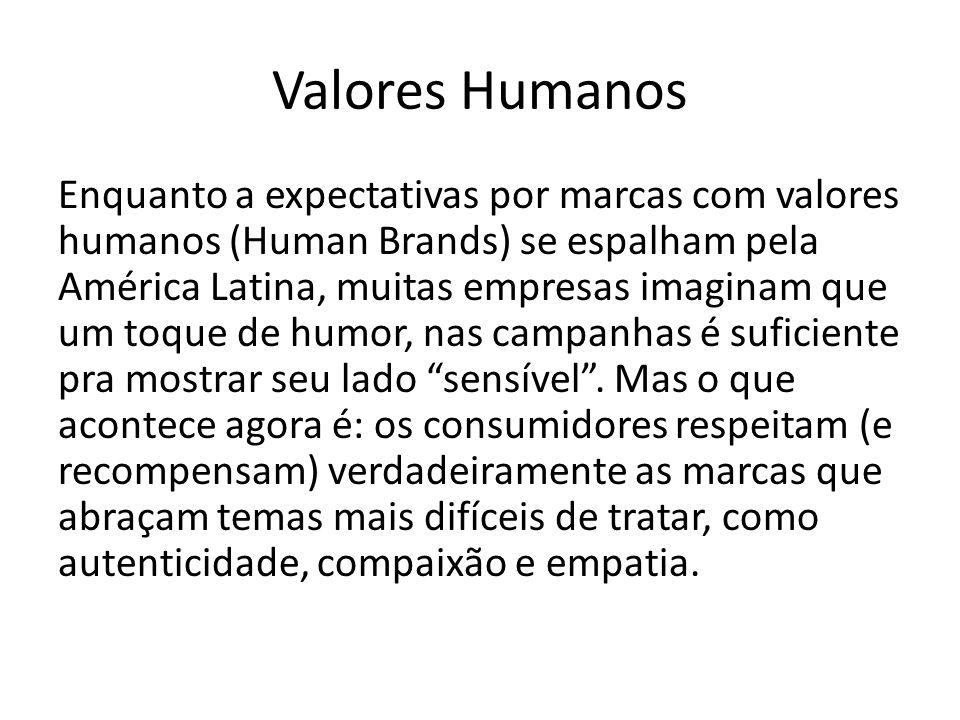 Valores Humanos Enquanto a expectativas por marcas com valores humanos (Human Brands) se espalham pela América Latina, muitas empresas imaginam que um