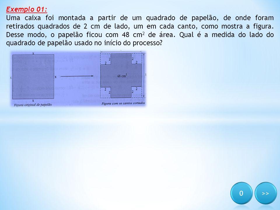 Exemplo 01: Uma caixa foi montada a partir de um quadrado de papelão, de onde foram retirados quadrados de 2 cm de lado, um em cada canto, como mostra