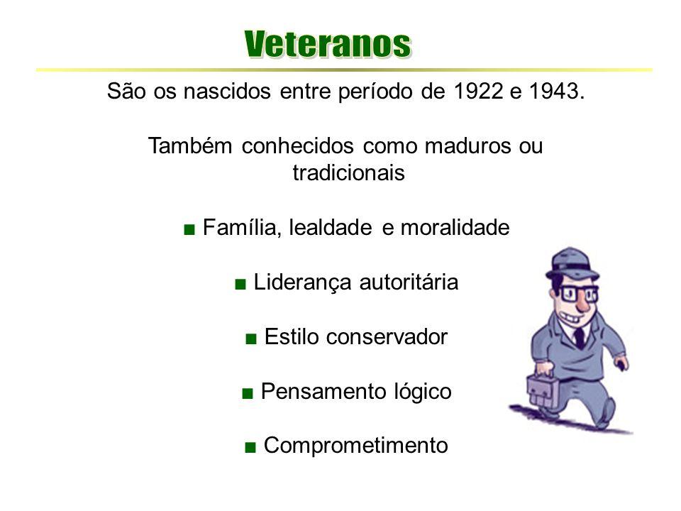 São os nascidos entre período de 1922 e 1943. Também conhecidos como maduros ou tradicionais ■ Família, lealdade e moralidade ■ Liderança autoritária
