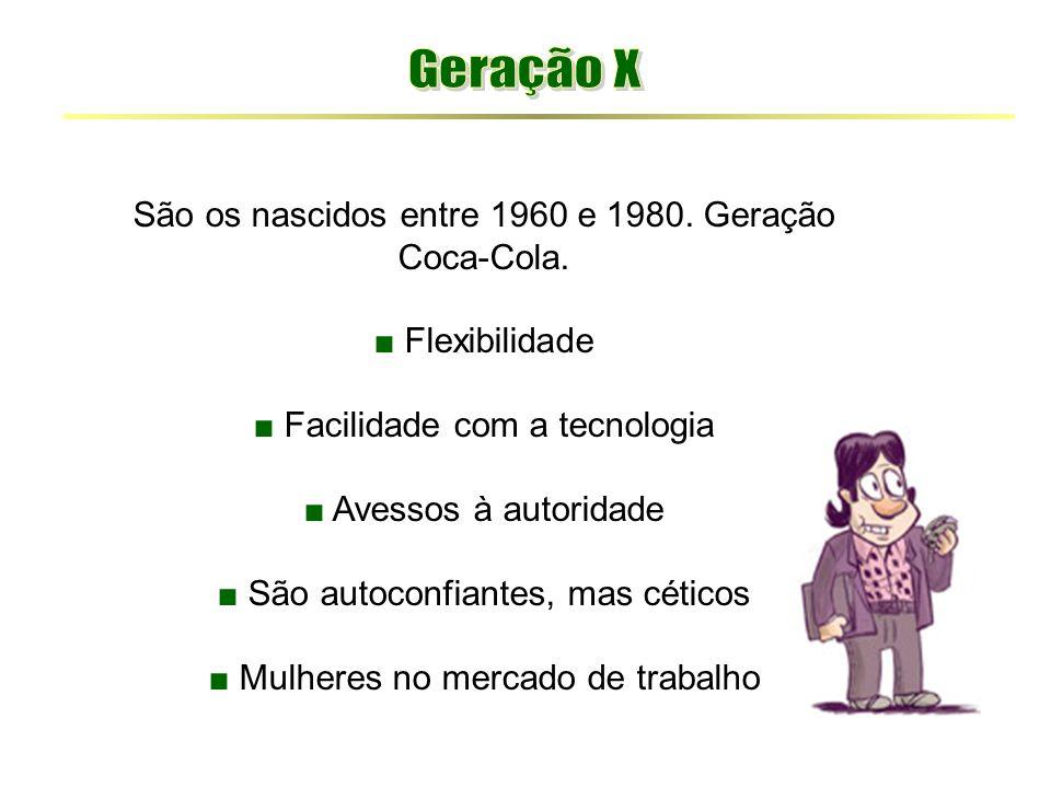 São os nascidos entre 1960 e 1980. Geração Coca-Cola. ■ Flexibilidade ■ Facilidade com a tecnologia ■ Avessos à autoridade ■ São autoconfiantes, mas c