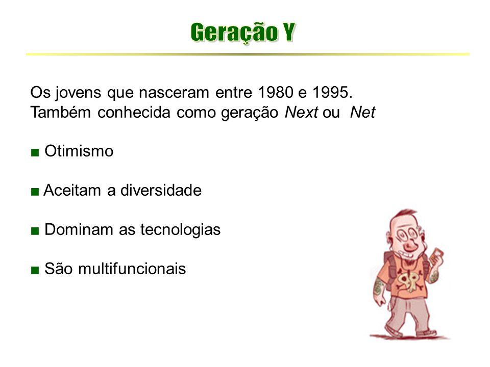 Os jovens que nasceram entre 1980 e 1995. Também conhecida como geração Next ou Net ■ Otimismo ■ Aceitam a diversidade ■ Dominam as tecnologias ■ São