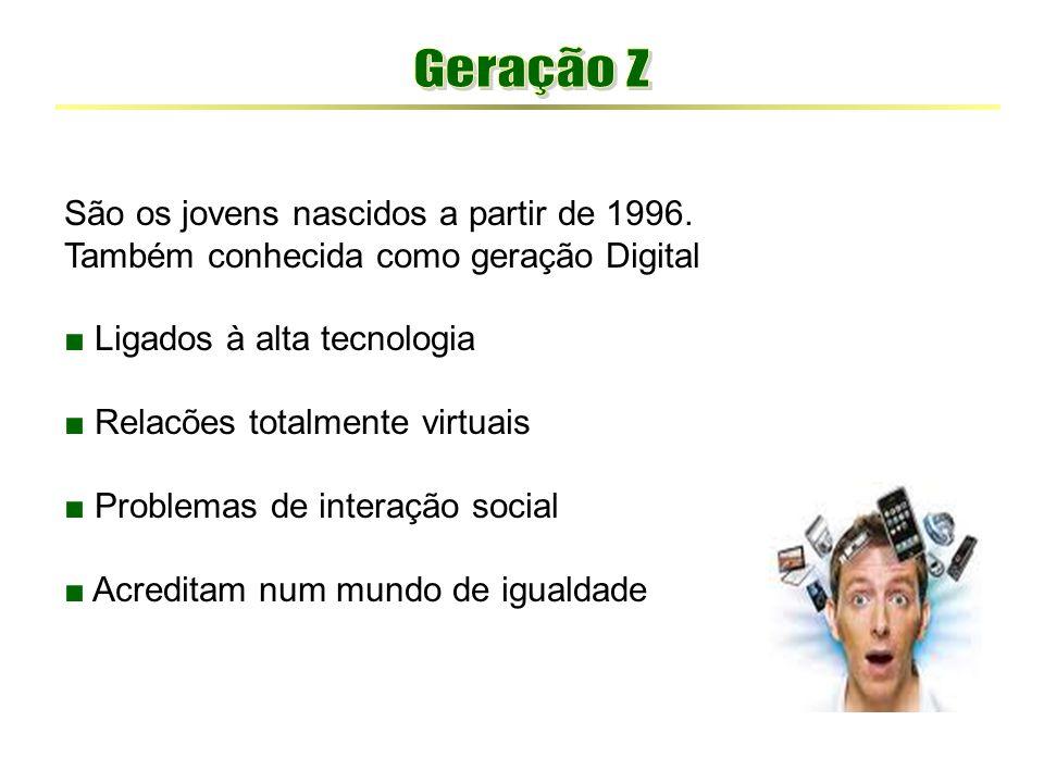 São os jovens nascidos a partir de 1996. Também conhecida como geração Digital ■ Ligados à alta tecnologia ■ Relacões totalmente virtuais ■ Problemas