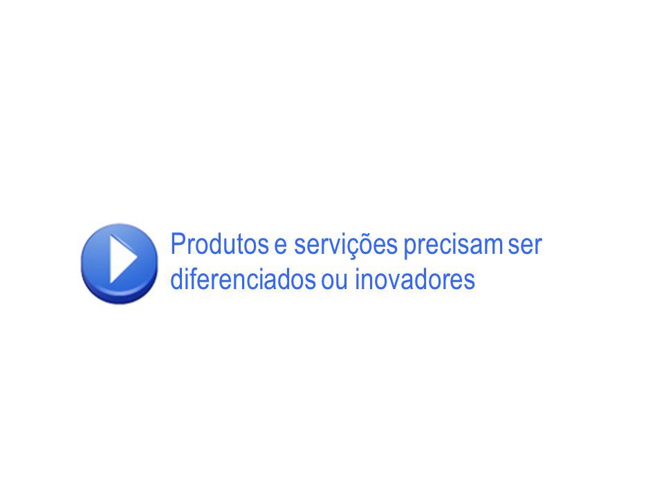 Produtos e servições precisam ser diferenciados ou inovadores