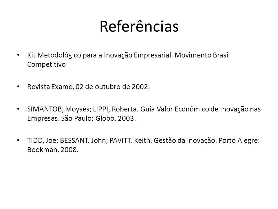 Referências • Kit Metodológico para a Inovação Empresarial. Movimento Brasil Competitivo • Revista Exame, 02 de outubro de 2002. • SIMANTOB, Moysés; L