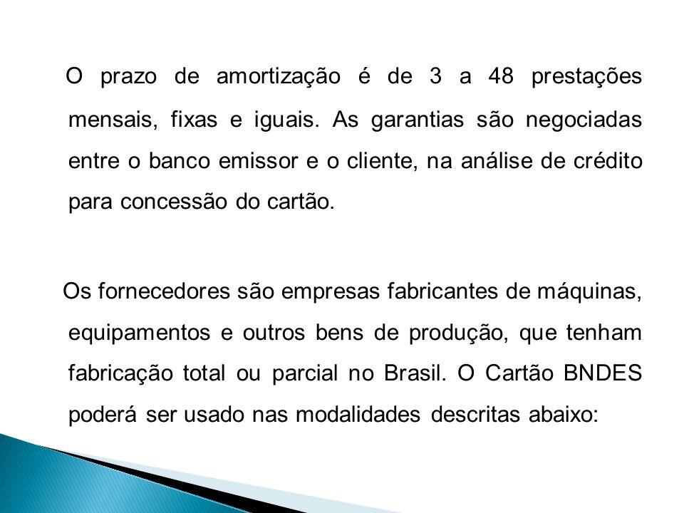 O prazo de amortização é de 3 a 48 prestações mensais, fixas e iguais.