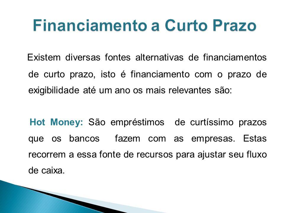 Existem diversas fontes alternativas de financiamentos de curto prazo, isto é financiamento com o prazo de exigibilidade até um ano os mais relevantes são: Hot Money: São empréstimos de curtíssimo prazos que os bancos fazem com as empresas.