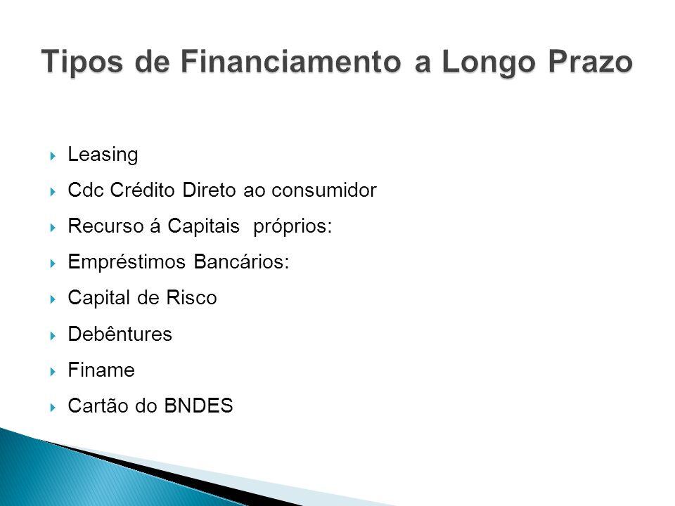  Leasing  Cdc Crédito Direto ao consumidor  Recurso á Capitais próprios:  Empréstimos Bancários:  Capital de Risco  Debêntures  Finame  Cartão do BNDES