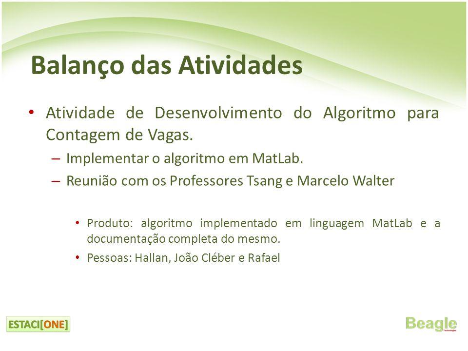 • Atividade de Desenvolvimento do Algoritmo para Contagem de Vagas.