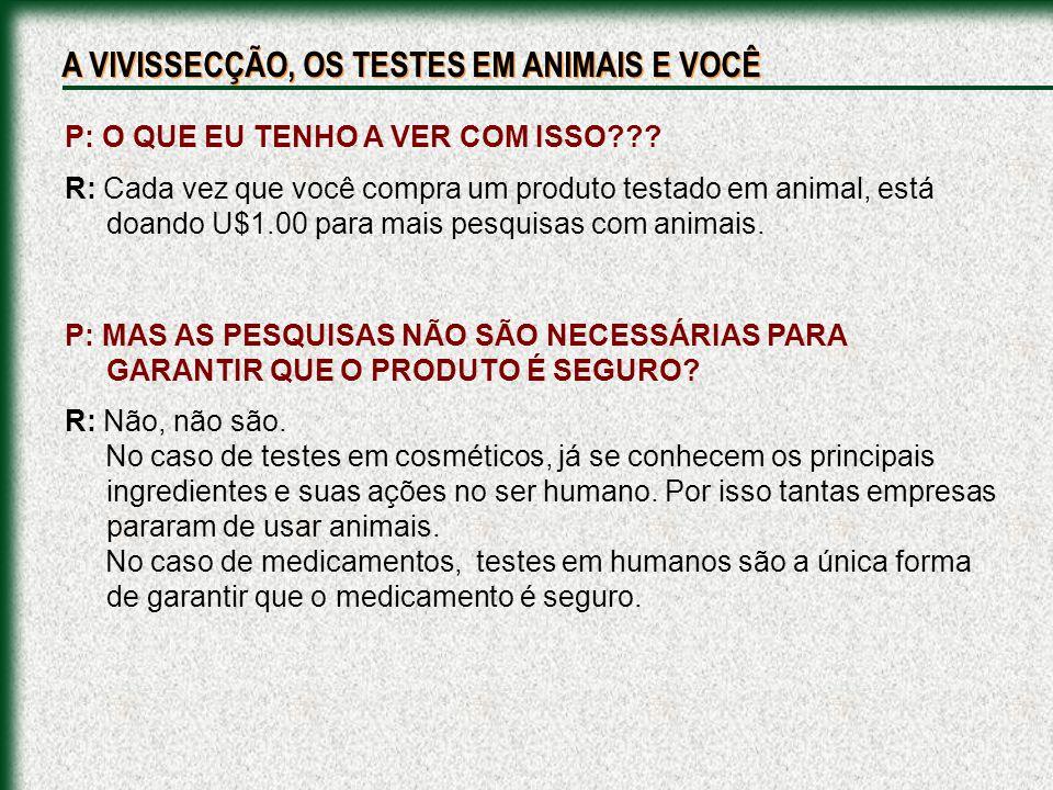 P: O QUE EU TENHO A VER COM ISSO??? R: Cada vez que você compra um produto testado em animal, está doando U$1.00 para mais pesquisas com animais. P: M