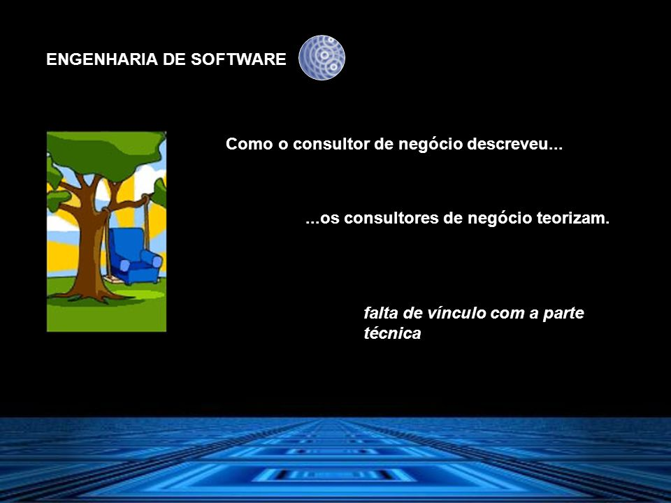 ENGENHARIA DE SOFTWARE Como o consultor de negócio descreveu......os consultores de negócio teorizam. falta de vínculo com a parte técnica