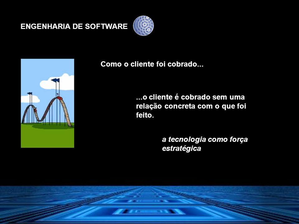 ENGENHARIA DE SOFTWARE Como o cliente foi cobrado......o cliente é cobrado sem uma relação concreta com o que foi feito. a tecnologia como força estra
