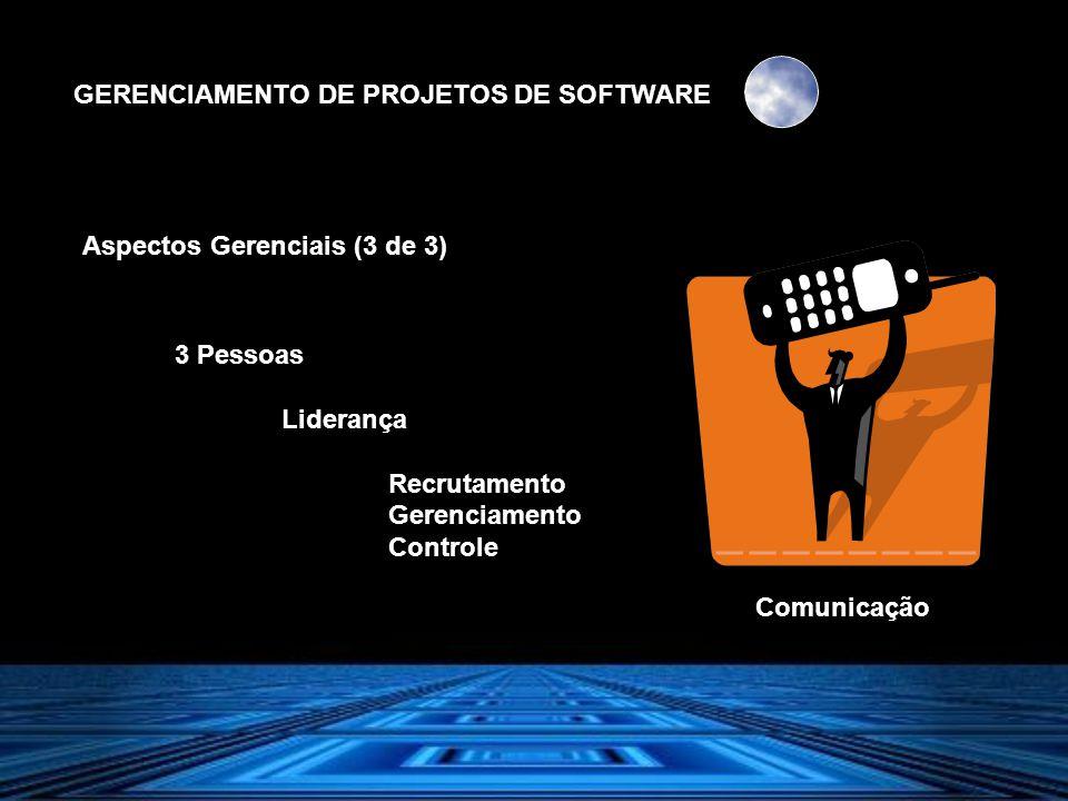 GERENCIAMENTO DE PROJETOS DE SOFTWARE Aspectos Gerenciais (3 de 3) 3 Pessoas Liderança Recrutamento Gerenciamento Controle Comunicação