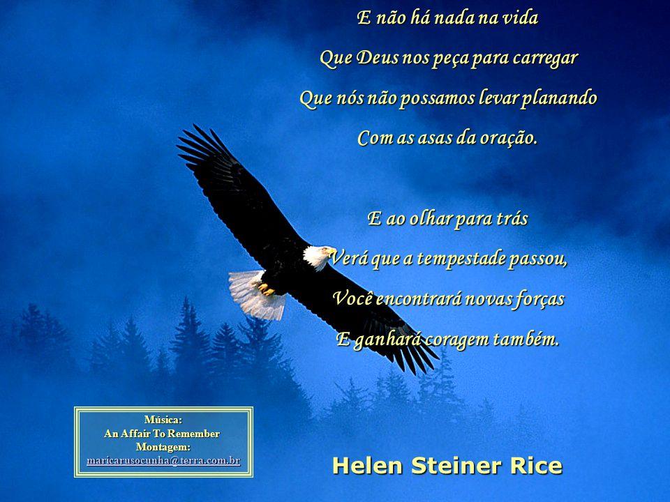 Mas, faça como a águia, Abra largamente as suas asas E decole para bem alto, Acima dos problemas que a vida traz. Pois a águia sabe Que quanto mais al