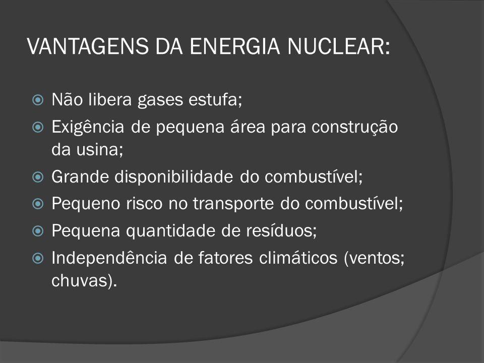 VANTAGENS DA ENERGIA NUCLEAR:  Não libera gases estufa;  Exigência de pequena área para construção da usina;  Grande disponibilidade do combustível