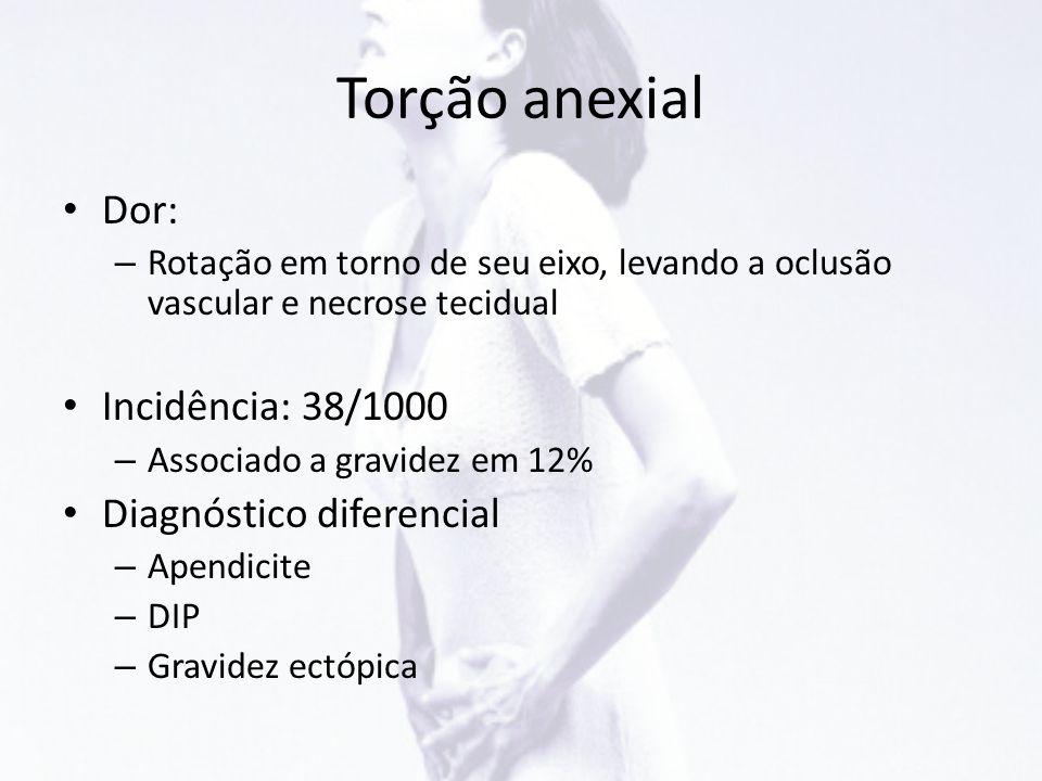 Torção anexial • Dor: – Rotação em torno de seu eixo, levando a oclusão vascular e necrose tecidual • Incidência: 38/1000 – Associado a gravidez em 12