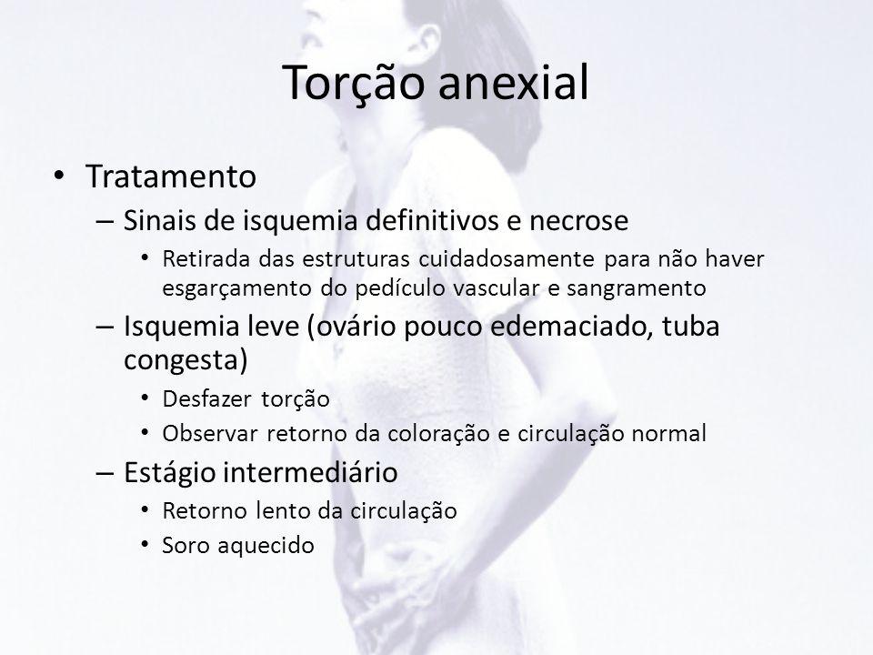 Torção anexial • Tratamento – Sinais de isquemia definitivos e necrose • Retirada das estruturas cuidadosamente para não haver esgarçamento do pedícul