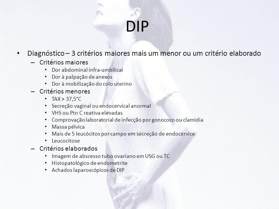 DIP • Diagnóstico – 3 critérios maiores mais um menor ou um critério elaborado – Critérios maiores • Dor abdominal infra-umbilical • Dor à palpação de