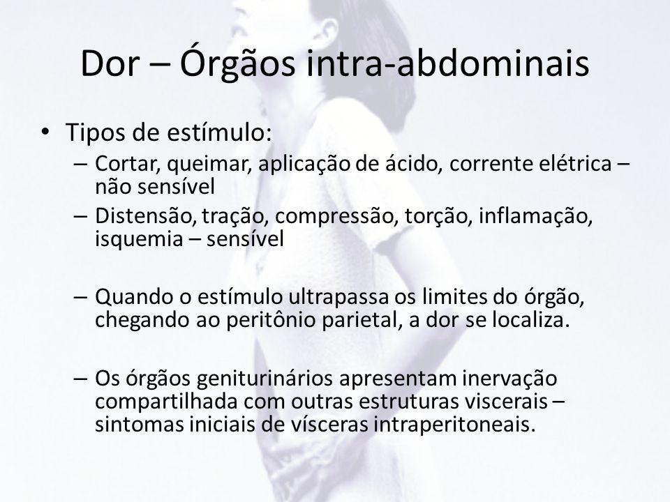 Dor – Órgãos intra-abdominais • Tipos de estímulo: – Cortar, queimar, aplicação de ácido, corrente elétrica – não sensível – Distensão, tração, compre