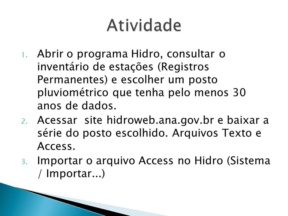 1. Abrir o programa Hidro, consultar o inventário de estações (Registros Permanentes) e escolher um posto pluviométrico que tenha pelo menos 30 anos d