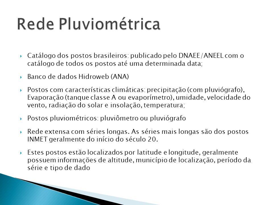  Catálogo dos postos brasileiros: publicado pelo DNAEE/ANEEL com o catálogo de todos os postos até uma determinada data;  Banco de dados Hidroweb (A