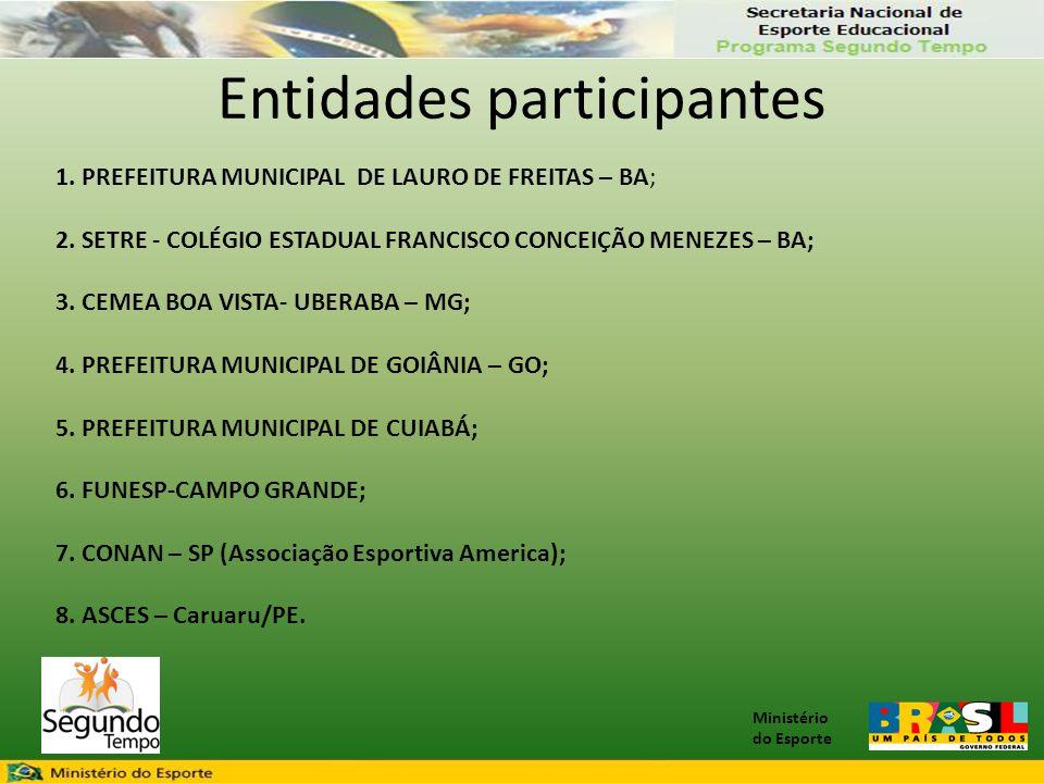 Ministério do Esporte Entidades participantes 1. PREFEITURA MUNICIPAL DE LAURO DE FREITAS – BA; 2. SETRE - COLÉGIO ESTADUAL FRANCISCO CONCEIÇÃO MENEZE