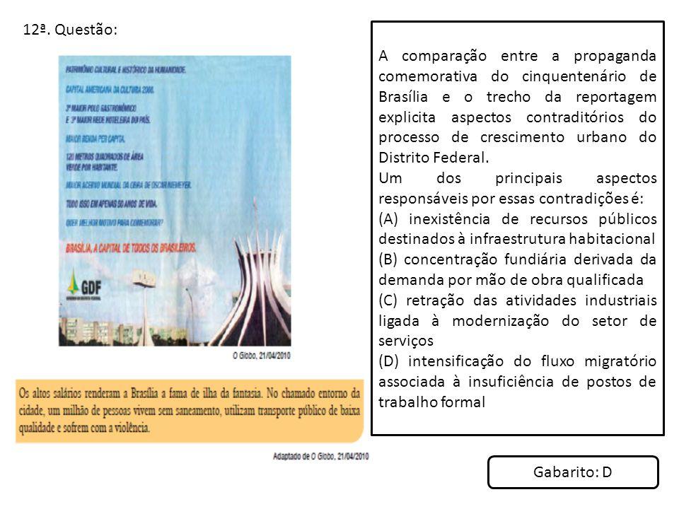 12ª. Questão: A comparação entre a propaganda comemorativa do cinquentenário de Brasília e o trecho da reportagem explicita aspectos contraditórios do