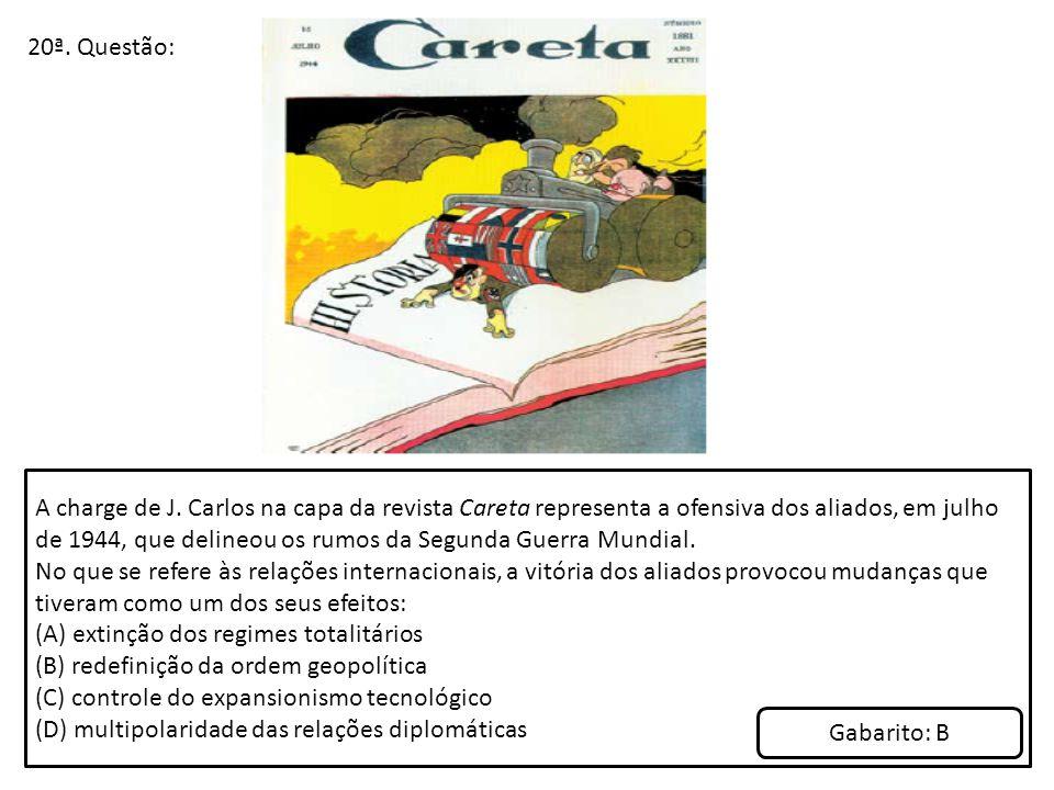 20ª. Questão: A charge de J. Carlos na capa da revista Careta representa a ofensiva dos aliados, em julho de 1944, que delineou os rumos da Segunda Gu