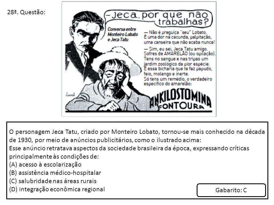 28ª. Questão: O personagem Jeca Tatu, criado por Monteiro Lobato, tornou-se mais conhecido na década de 1930, por meio de anúncios publicitários, como