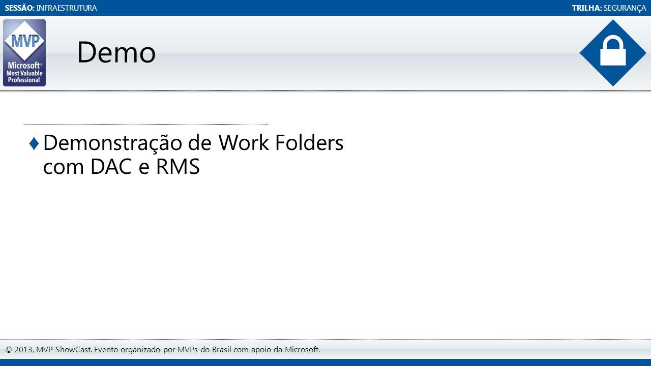 SESSÃO: INFRAESTRUTURATRILHA: SEGURANÇA © 2013, MVP ShowCast. Evento organizado por MVPs do Brasil com apoio da Microsoft. ♦ Demonstração de Work Fold