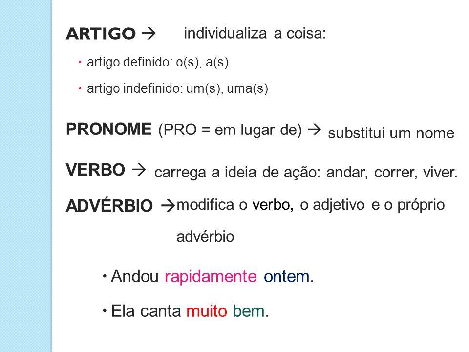  artigo definido: o(s), a(s)  artigo indefinido: um(s), uma(s) ARTIGO  individualiza a coisa: PRONOME (PRO = em lugar de)  substitui um nome VERBO  carrega a ideia de ação: andar, correr, viver.
