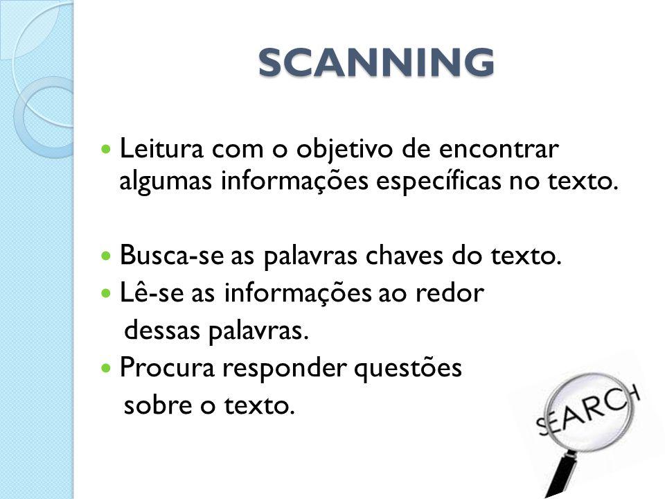 SCANNING  Leitura com o objetivo de encontrar algumas informações específicas no texto.