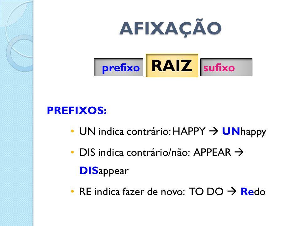 PREFIXOS: • UN indica contrário: HAPPY  UNhappy • DIS indica contrário/não: APPEAR  DISappear • RE indica fazer de novo: TO DO  Redo prefixo RAIZ sufixo AFIXAÇÃO