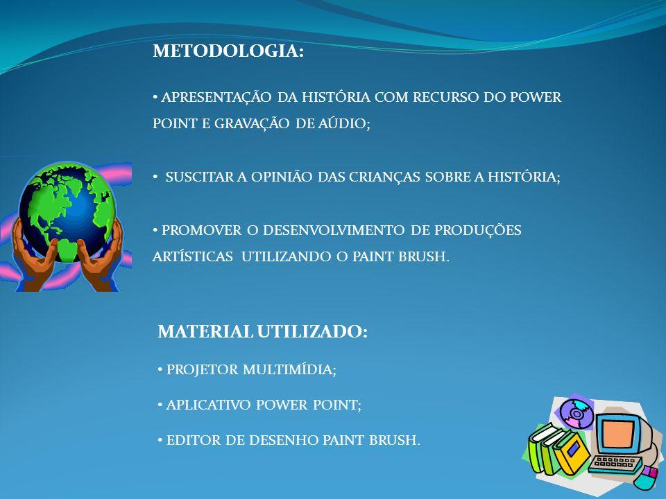 METODOLOGIA: • APRESENTAÇÃO DA HISTÓRIA COM RECURSO DO POWER POINT E GRAVAÇÃO DE AÚDIO; • SUSCITAR A OPINIÃO DAS CRIANÇAS SOBRE A HISTÓRIA; • PROMOVER