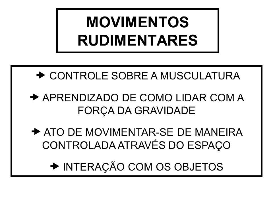 MOVIMENTOS RUDIMENTARES  CONTROLE SOBRE A MUSCULATURA  APRENDIZADO DE COMO LIDAR COM A FORÇA DA GRAVIDADE  ATO DE MOVIMENTAR-SE DE MANEIRA CONTROLA