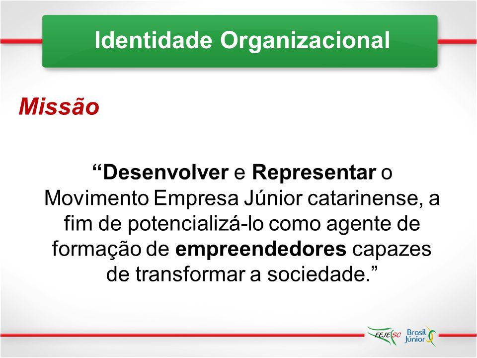 Visão Consolidar a expansão do MEJ catarinense, primando pela excelência das suas Empresas Juniores. Identidade Organizacional