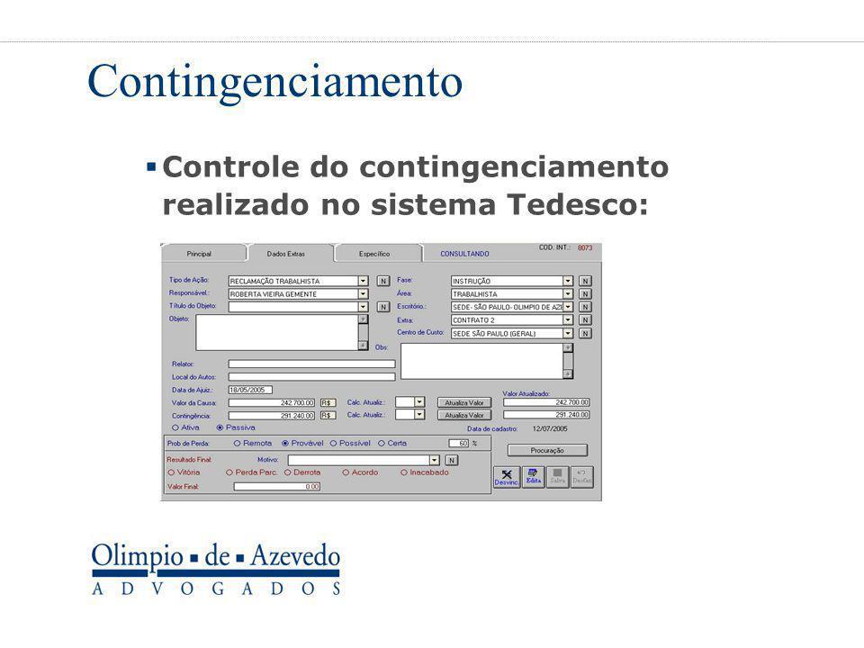 Contingenciamento  Controle do contingenciamento realizado no sistema Tedesco: