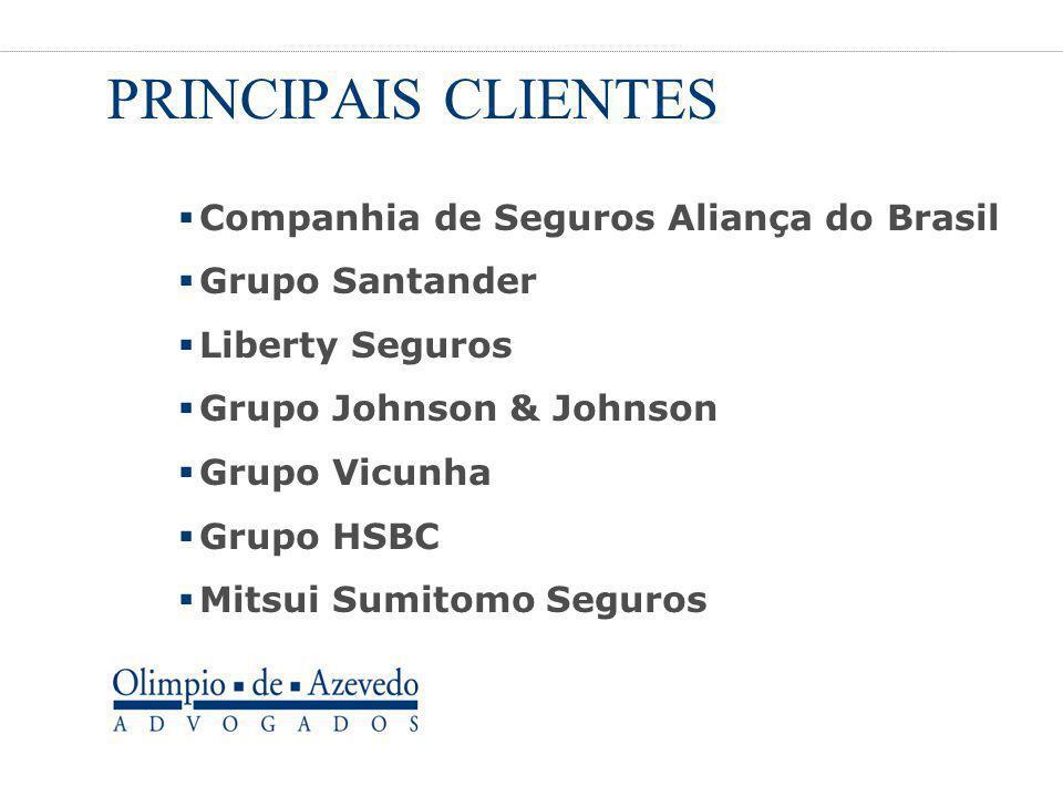 PRINCIPAIS CLIENTES  Companhia de Seguros Aliança do Brasil  Grupo Santander  Liberty Seguros  Grupo Johnson & Johnson  Grupo Vicunha  Grupo HSB