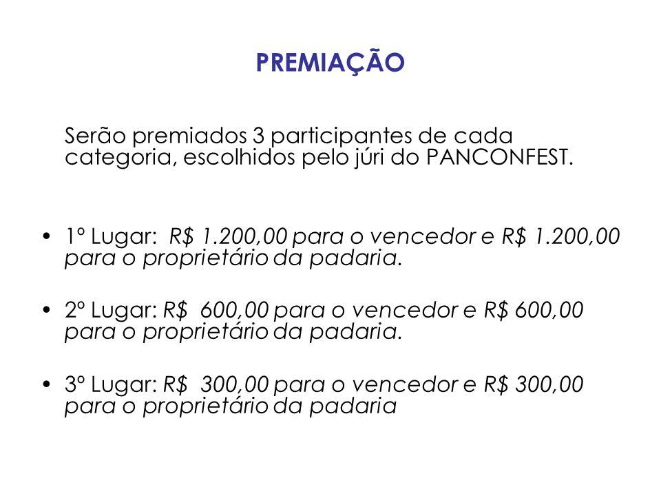 PREMIAÇÃO Serão premiados 3 participantes de cada categoria, escolhidos pelo júri do PANCONFEST.