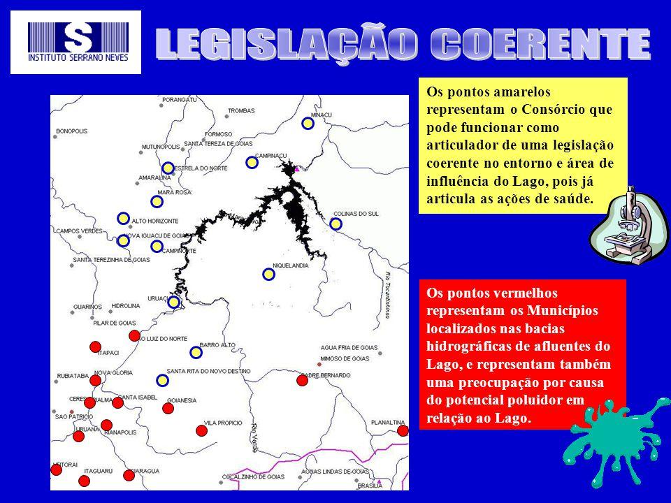 Os pontos amarelos representam o Consórcio que pode funcionar como articulador de uma legislação coerente no entorno e área de influência do Lago, poi