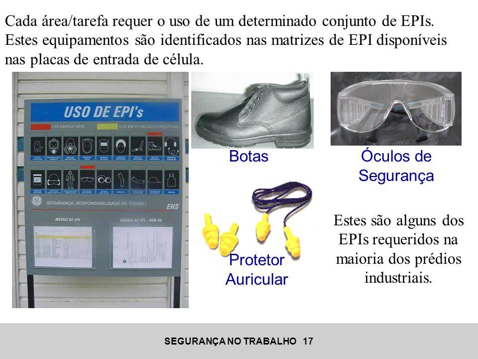 SEGURANÇA NO TRABALHO 17 Cada área/tarefa requer o uso de um determinado conjunto de EPIs. Estes equipamentos são identificados nas matrizes de EPI di