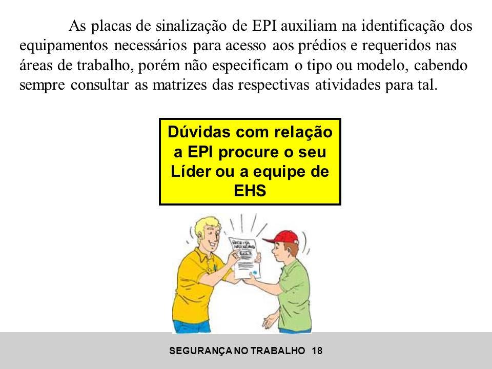 SEGURANÇA NO TRABALHO 18 Dúvidas com relação a EPI procure o seu Líder ou a equipe de EHS As placas de sinalização de EPI auxiliam na identificação do