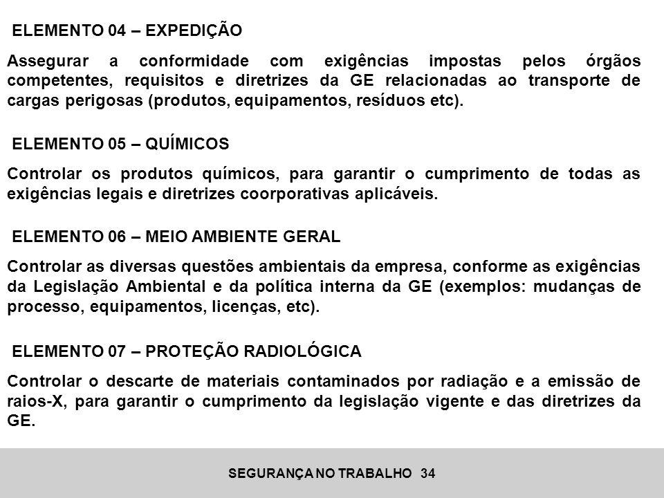 SEGURANÇA NO TRABALHO 34 ELEMENTO 04 – EXPEDIÇÃO Assegurar a conformidade com exigências impostas pelos órgãos competentes, requisitos e diretrizes da