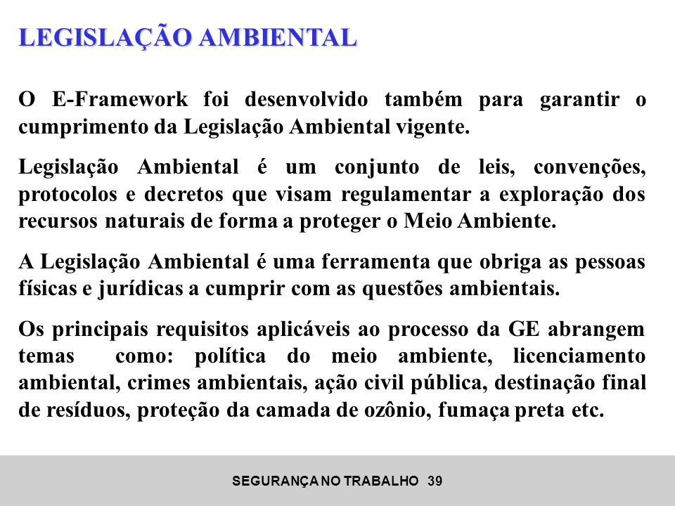 SEGURANÇA NO TRABALHO 39 LEGISLAÇÃO AMBIENTAL O E-Framework foi desenvolvido também para garantir o cumprimento da Legislação Ambiental vigente. Legis