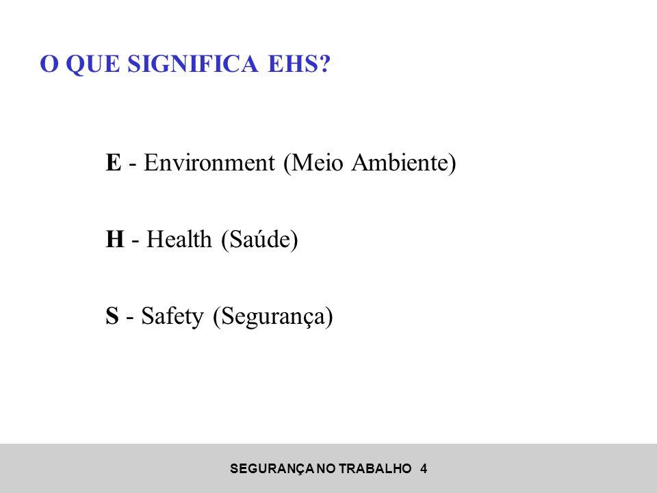 SEGURANÇA NO TRABALHO 4 O QUE SIGNIFICA EHS? E - Environment (Meio Ambiente) H - Health (Saúde) S - Safety (Segurança)