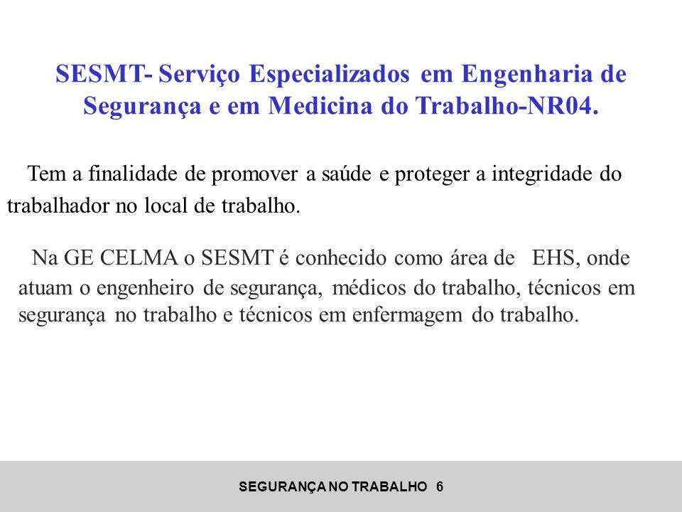 SEGURANÇA NO TRABALHO 6 SESMT- Serviço Especializados em Engenharia de Segurança e em Medicina do Trabalho-NR04. Tem a finalidade de promover a saúde