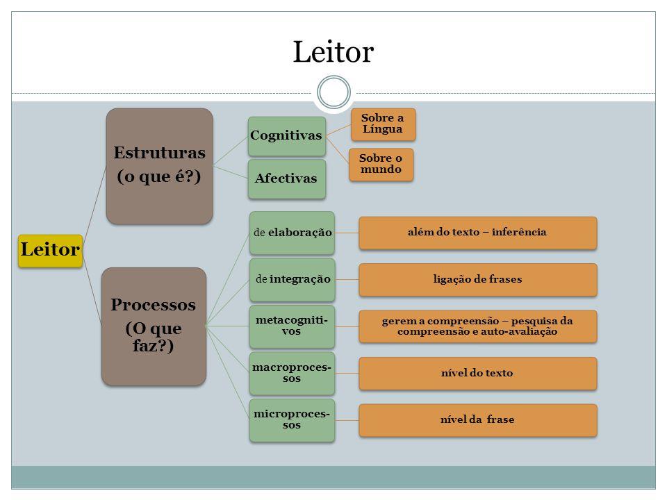 Leitor Estruturas (o que é?) Cognitivas Sobre a Língua Sobre o mundo Afectivas Processos (O que faz?) de elaboração além do texto – inferência de inte