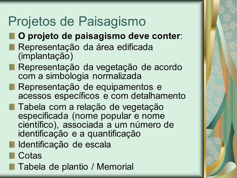 Projetos de Paisagismo O projeto de paisagismo deve conter: Representação da área edificada (implantação) Representação da vegetação de acordo com a simbologia normalizada Representação de equipamentos e acessos específicos e com detalhamento Tabela com a relação de vegetação especificada (nome popular e nome científico), associada a um número de identificação e a quantificação Identificação de escala Cotas Tabela de plantio / Memorial