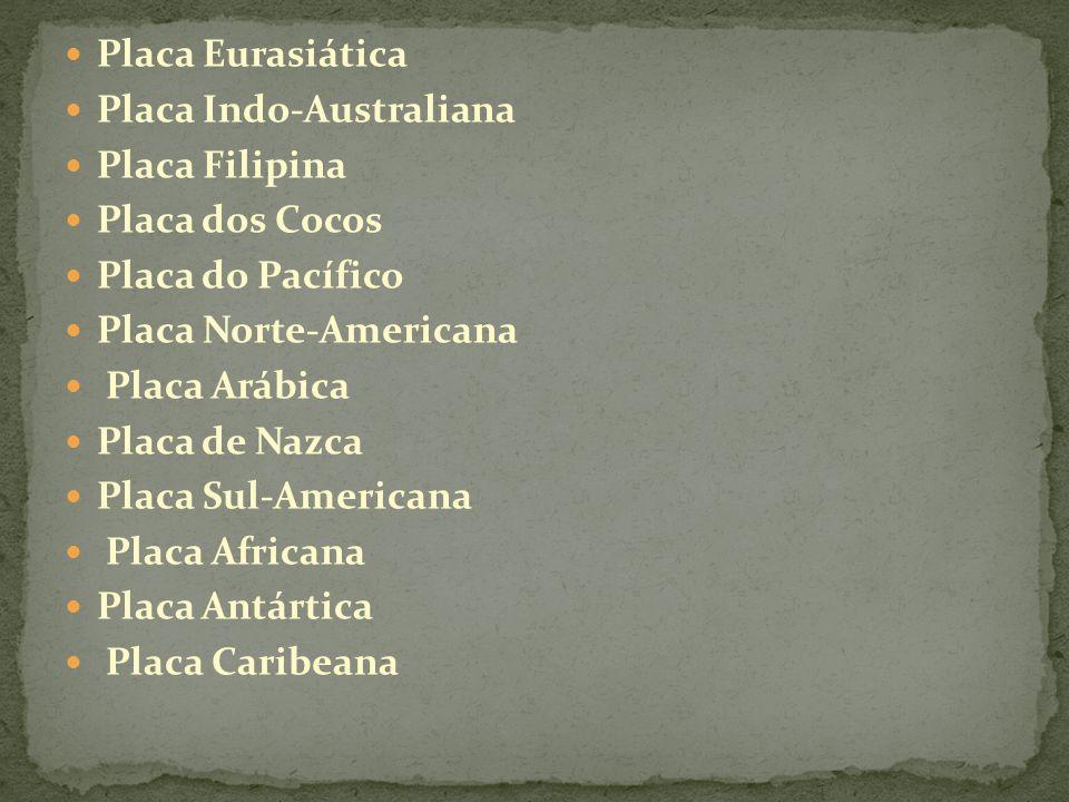 Principais Placas: ● Placa do Pac í fico: maior placa oceânica; abrange a maior parte do oceano Pac í fico.